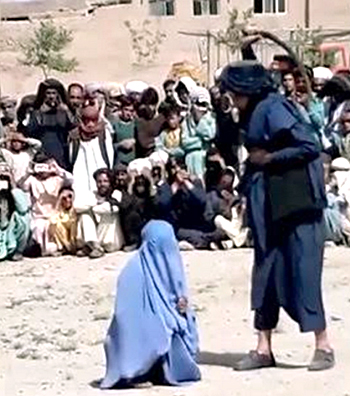 """Late 2020 in Herat Province Afghanistan, a girl accused of """"immoral relations"""" for talking to a man on the phone, receives 40 lashes from the Taliban."""