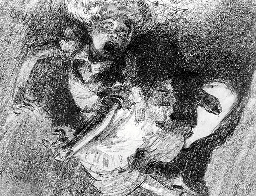 """""""Alice down the rabbit hole."""" This illustration by British artist David Hall depicts a terrified Alice tumbling down the burrow of the White Rabbit. The art comes from the 1939 proposed draft for the Disney animated film """"Alice in Wonderland."""" It was reject by Disney for being too dark and frightening, and too detailed to animate. Some of Hall's amazing concept art for Alice in Wonderland can be found online, but the demo reel produced for Disney has been lost to history."""